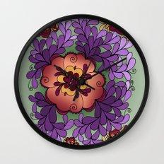 Pomegranate Poppies Wall Clock