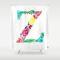 dragonball z Shower Curtains featuring monograms - Z by Yaz Raja Designs
