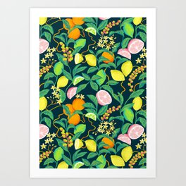 citrus fruits print Art Print
