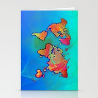 world map Stationery Cards featuring World Map by Roger Wedegis