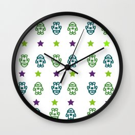 Astronauts and Stars in Dark Colors Wall Clock