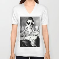 moschino V-neck T-shirts featuring Moschino Glasses by Claudio Velázquez