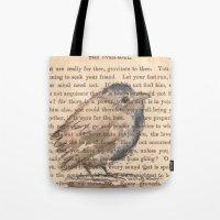 waldo Tote Bags featuring Ralph Waldo Emerson Bird by Wendy Roscoe Designs