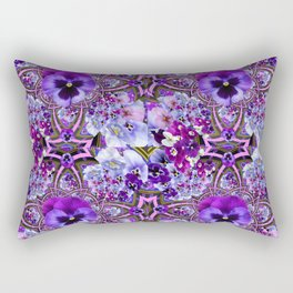AWESOME GEOMETRIC LILAC PURPLE PANSIES GARDEN ART Rectangular Pillow