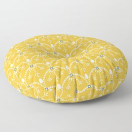 Dots and arcs, sunny yellow Floor Pillow
