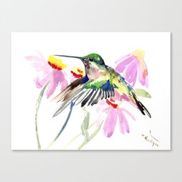 Hummingbird and Light Purple Flowers, birds and flowers Canvas Print