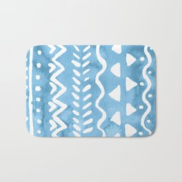 Loose boho chic pattern - blue Bath Mat