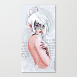 silver hair girl waiting Canvas Print