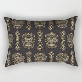 Mexican Sugar Skulls Gold on Black Rectangular Pillow