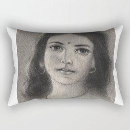 Indian Girl - in Charcoal Rectangular Pillow