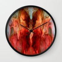 pagan Wall Clocks featuring Pagan by rafi talby by Rafi Talby - Painter