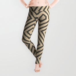 Brown and Tan Minimal Square Line Art Pattern V2 2021 Color of the Year Urbane Bronze and Ivoire Leggings