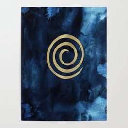Infinity Navy Blue And Gold Abstract Modern Art Painting Poster