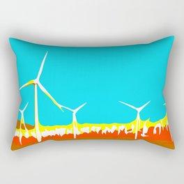 wind turbine in the desert with blue sky Rectangular Pillow