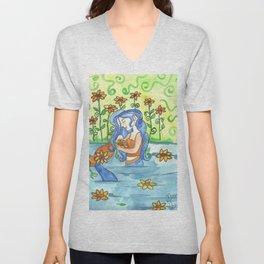 Sunflower Mermaid Unisex V-Neck