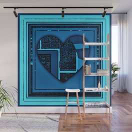 transparent heart (blue) Wall Mural