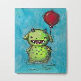 Little Monster's Big Balloon Metal Print