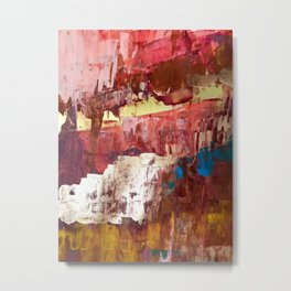 Desert Sun [4]: a bright, bold, abstract piece in vibrant gold, red, pink, purple, and blue Metal Print