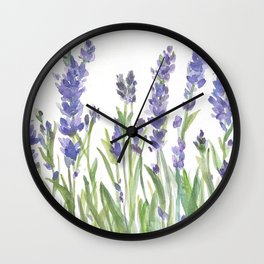 lavender garden watercolor Wall Clock