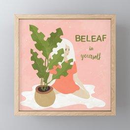 House Plant and a Girl Framed Mini Art Print