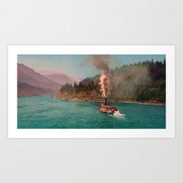 The Columbia Below The Cascades - Circa 1901 Photochrom Art Print