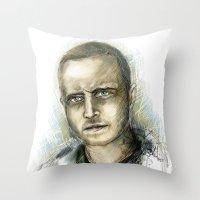 jesse pinkman Throw Pillows featuring Jesse Pinkman - Breaking Bad by Lisa Lemoine