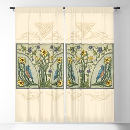 Bluebirds And Spring Blossoms Inspired By Art Nouveau Blackout Curtain