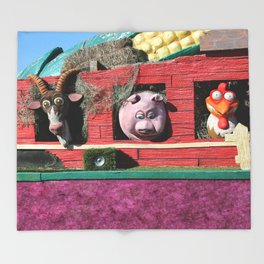 Barnyard Float-Goat, Pig, & Chicken Throw Blanket