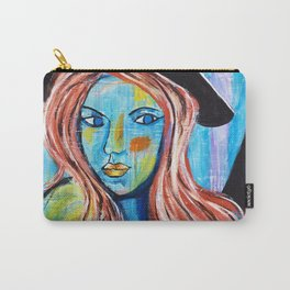 Blue Lady With Hat Carry-All Pouch