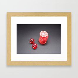 Two dice and Poker Framed Art Print
