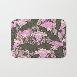 VINTAGE BATS & PINK LILIES ART Bath Mat