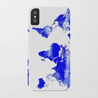world map iPhone & iPod Cases featuring World map by Whimsy Romance & Fun