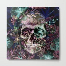 leaves skull Metal Print