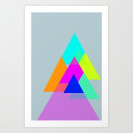 Triangles - neon color scheme series no. 1 Art Print