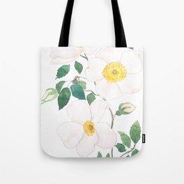 white wild Rosa rubiginosa watercolor Tote Bag