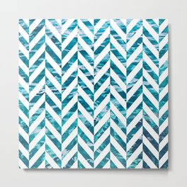 Watercolor Herringbone Metal Print