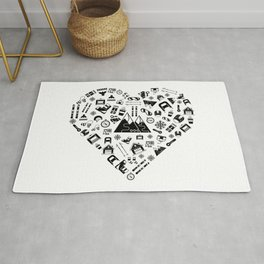 I Love Skiing | Snow Heart Winter Sports Skiing Rug