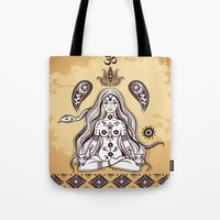 om Tote Bags featuring om by flamenco72