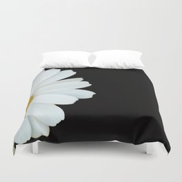 Hello Daisy - White Flower Black Background #decor #society6 #buyart Duvet Cover
