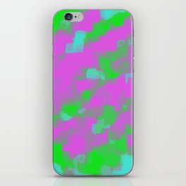 pink green and blue square painting abstract background iPhone Skin