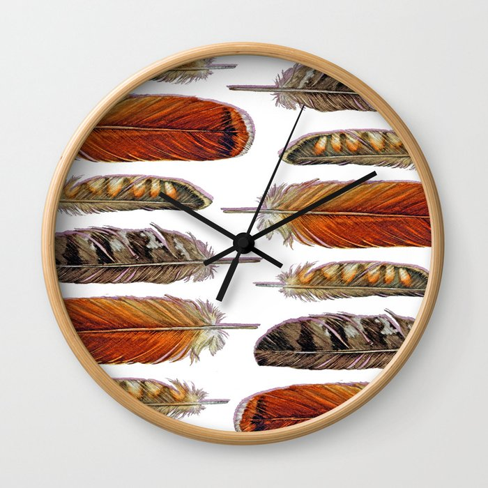 Raptor Feathers Wall Clock
