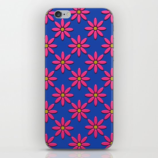 Pink Flowers on Blue Field iPhone & iPod Skin