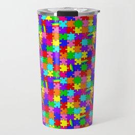Autism Acceptance and Awareness Spectrum Rainbow Puzzle Pieces Travel Mug