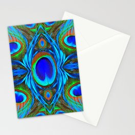 BLUE  PEACOCK EYE FEATHER ABSTRACT Stationery Cards
