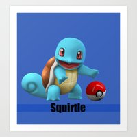 squirtle Art Prints featuring Squirtle by Yamilett Pimentel