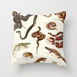 Adolphe Millot - Batraciens et reptiles - French vintage zoology poster Throw Pillow