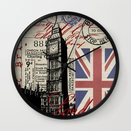London Great Britain Big Ben Flag Collage #Society6Art Wall Clock