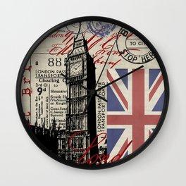 London Great Britain Big Ben Flag Collage #Society6Art Wall Clock