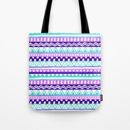 Purple Turquoise Inca Pattern Tote Bag