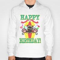 happy birthday Hoodies featuring Happy Birthday! by BATKEI